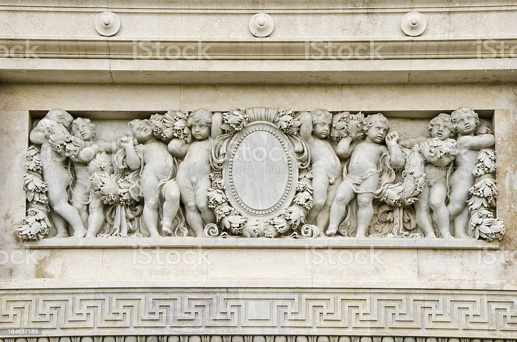 Marble Ancient baby bas-relief of the Throne Hall royalty-free stock photo