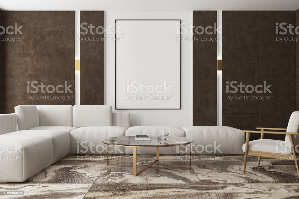 Marble And Brown Living Room Poster Stock Photo Download Image Now Istock