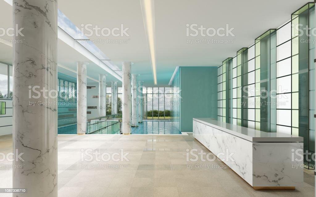 Marmor Und Glasrezeption Im Spacenter Stockfoto und mehr ...