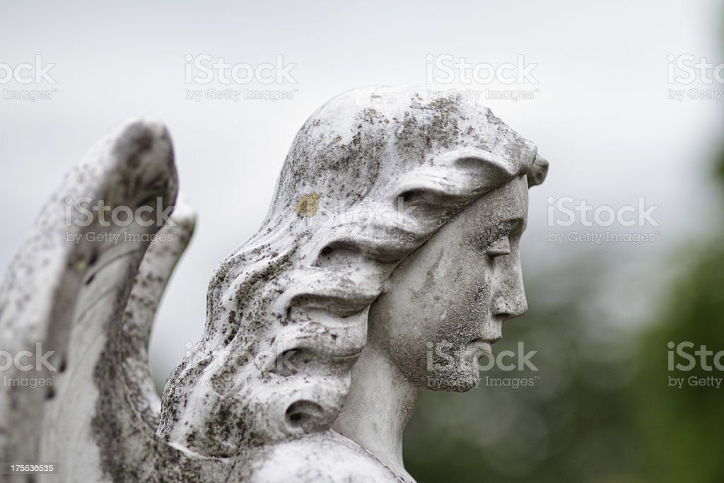 Profile white marble head of angel stock photo