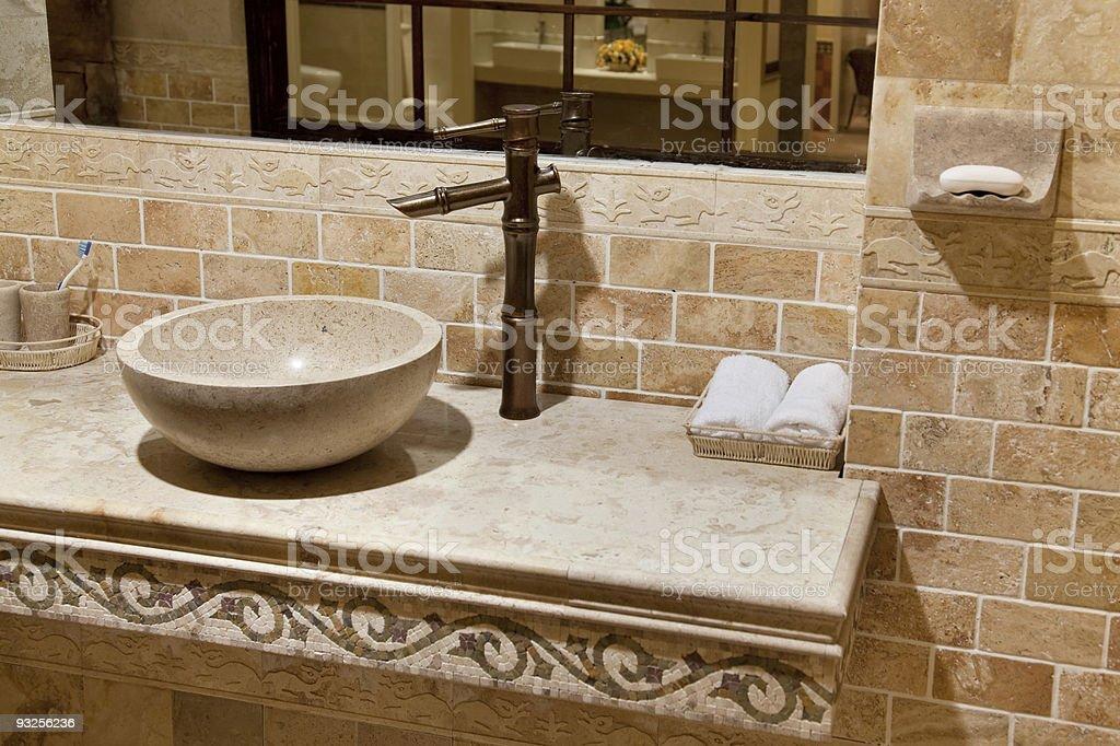 Marble bathroom sink stock photo