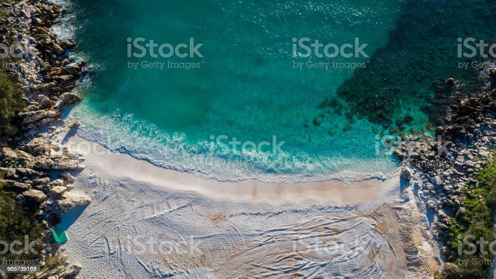 Marble beach (Saliara beach). Thassos island, Greece - Royalty-free Aerial View Stock Photo