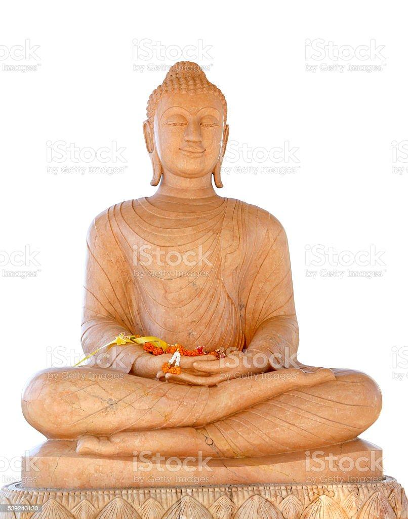 Marble Buddha Statue isolated on white background royalty-free stock photo