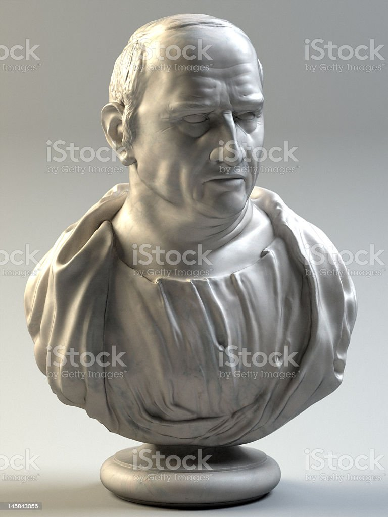 Marble bust of Marcus Tullius Cicero stock photo