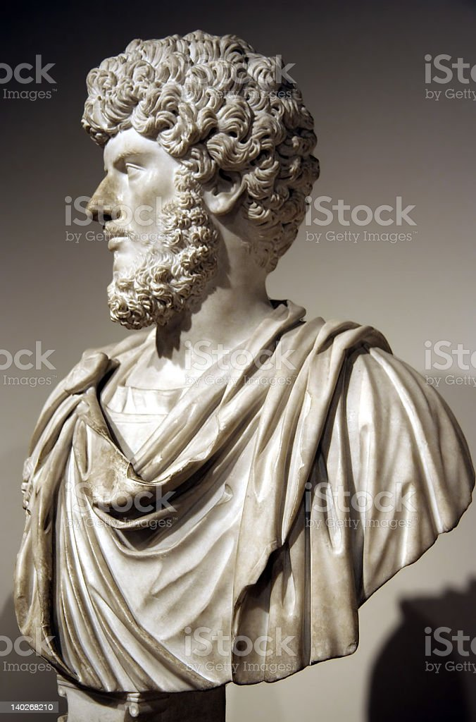 Marble bust of Roman emperor stock photo