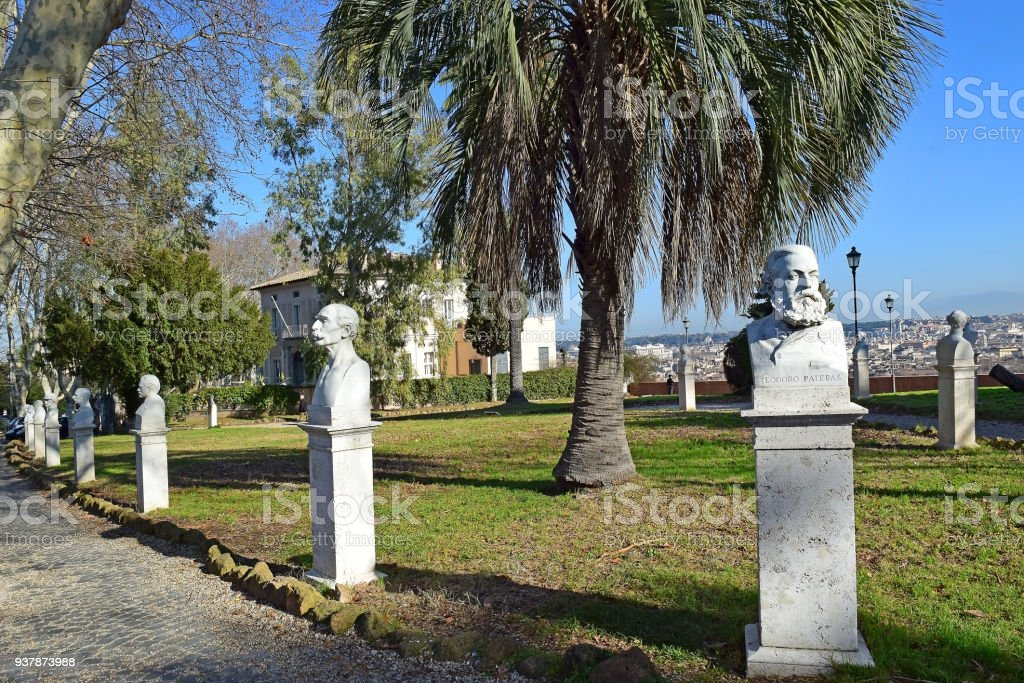 marble busts heroes of Garibaldi at the Gianicolo Park, Janiculum hill, Rome stock photo