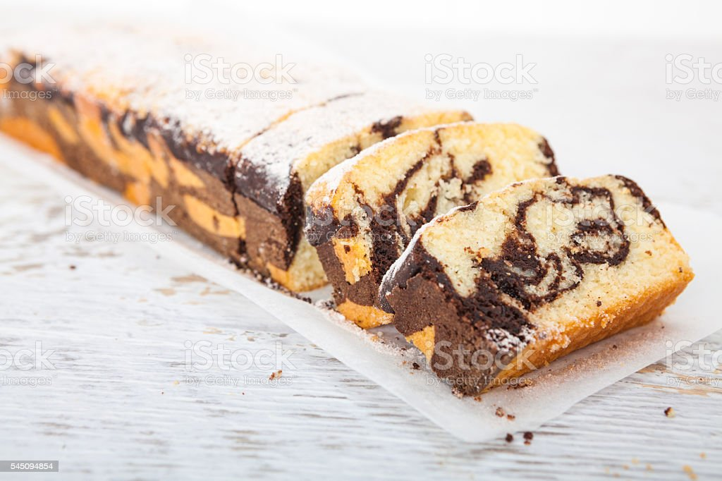 Marble cake - Homemade sweet dessert - foto de acervo