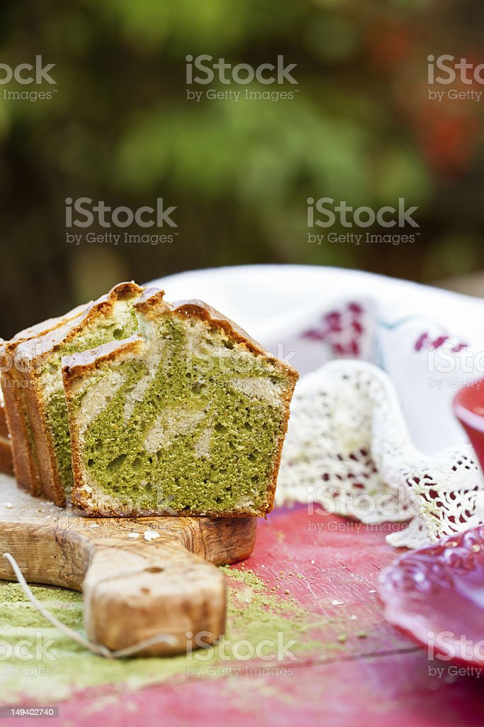 Marble cake with Japanese green tea royalty-free stock photo