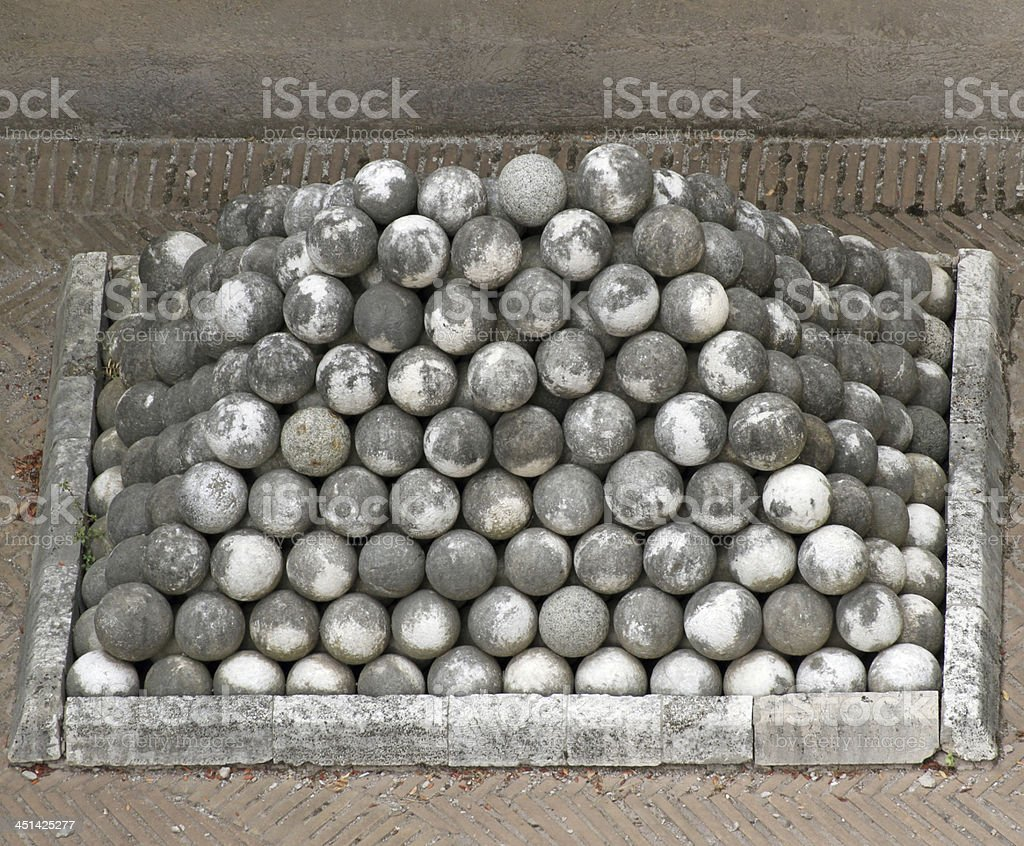 marble cannon balls in Castel St. Angel stock photo