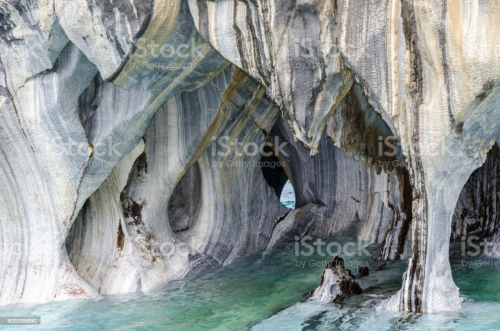 Marble Caves of Lake General Carrera, Chile, near Puerto Rio Tranquilo stock photo
