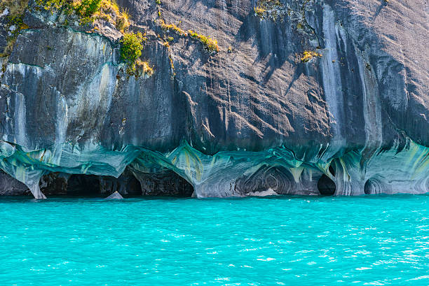 Marble Caves of lake General Carrera (Chile) stock photo