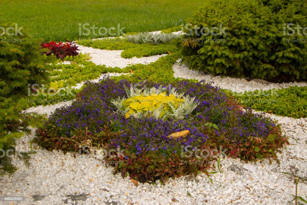 Marble chips and many annual flowers in rockeries. stock photo