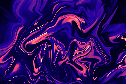 Marble Colorful Neon Coral Pink Navy Blue Ultra Violet Purple Marbled Texture on Black Background Abstract Ebru Multi Colored Gradient Pattern Trendy Colors Distorted Macro Photography