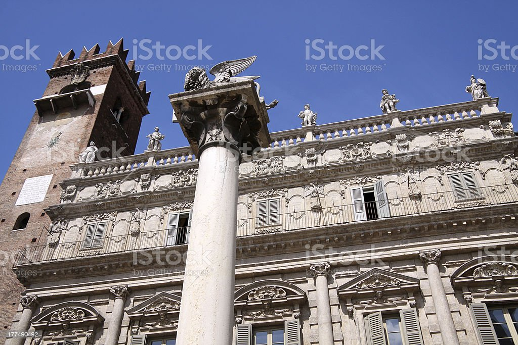Marble column with the winged lion of San Marco royalty-free stock photo