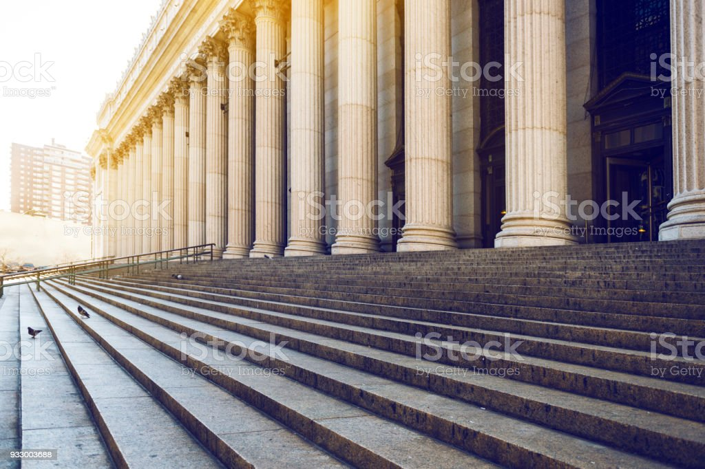 Marble columns, and stairs, New York Marble columns, and stairs backgrounds, New York City, USA Architectural Column Stock Photo