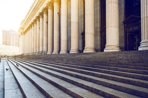Marble Columns And Stairs New York Stock Photo - Download Image Now