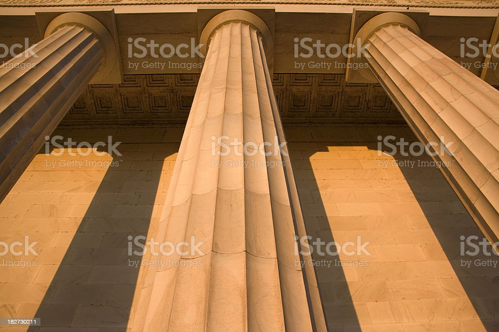 Marble columns from below stock photo