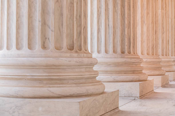 Marble Columns on the US Supreme Court Building stock photo