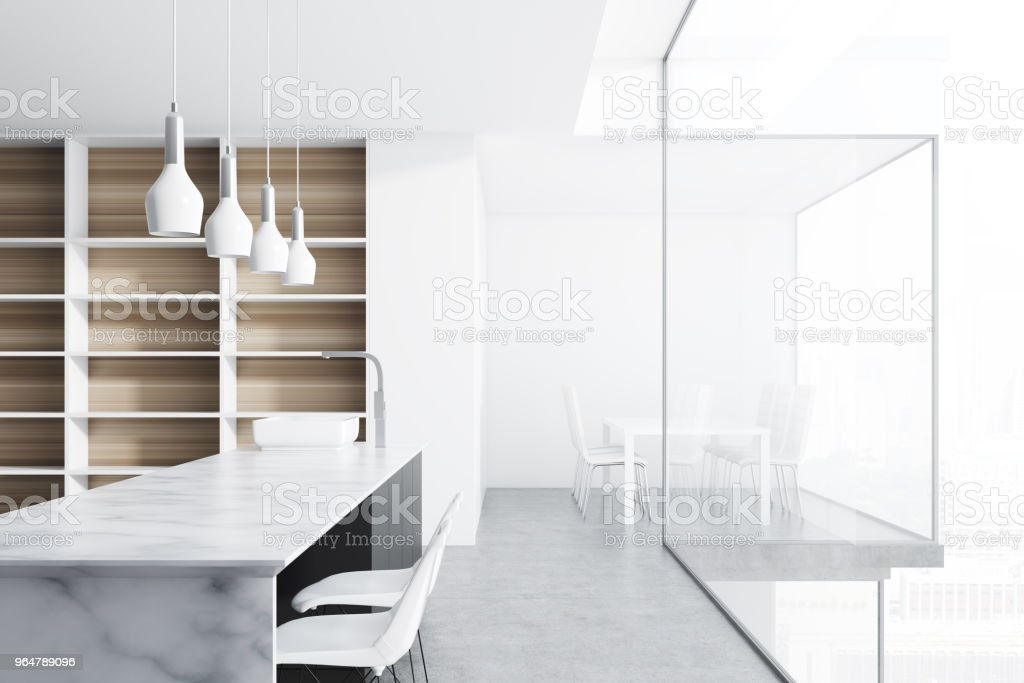 Marble countertops in a white kitchen royalty-free stock photo