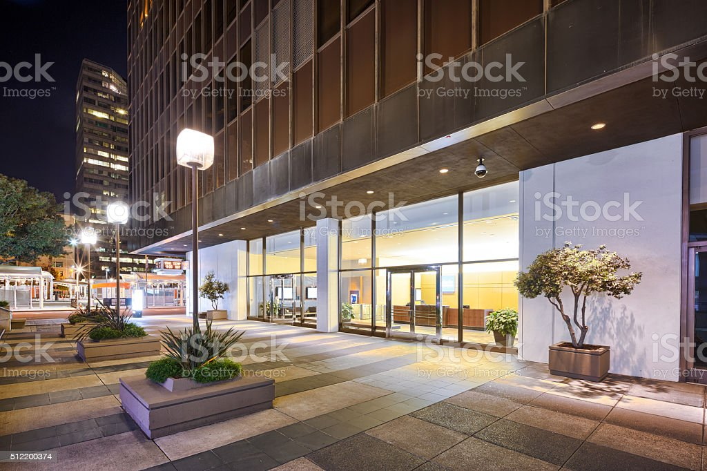 marble floor front of modern building in San Francisco stock photo