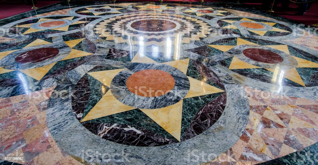 Marble Floor inside the Church of the Spilled Blood, St Petersbu stock photo