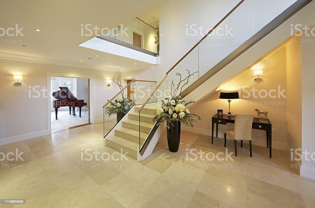 marble floored hallway stock photo