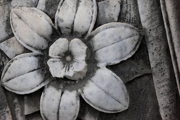 Marble flower in Palatino Ruins, Forum, Rome, Italy stock photo