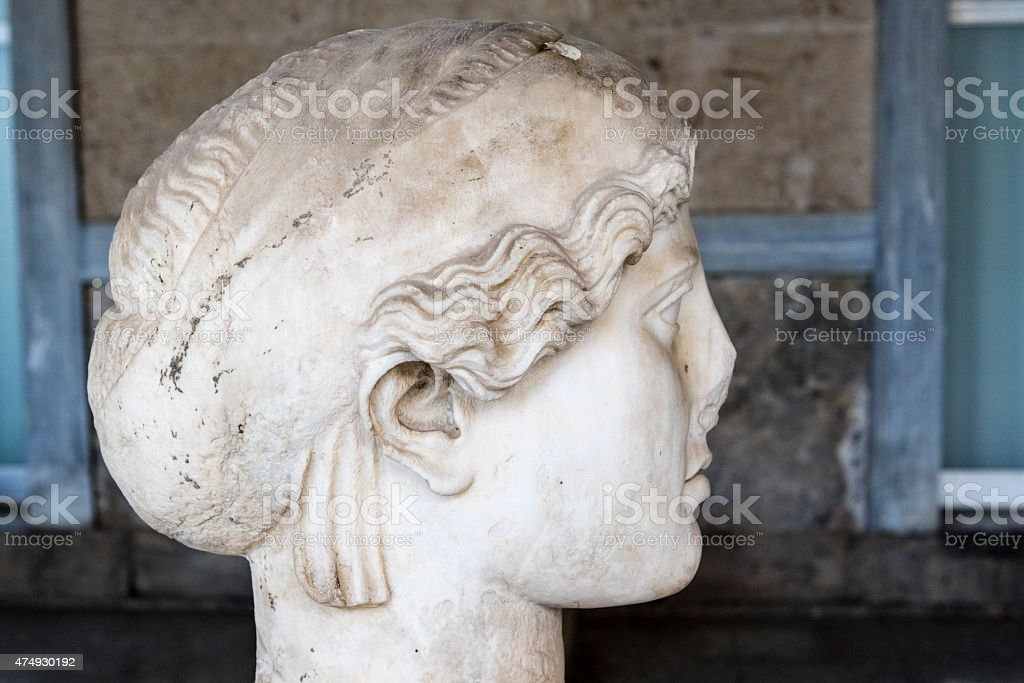 Marble head of a Greek woman, Ancient Agora, Athens, Greece stock photo