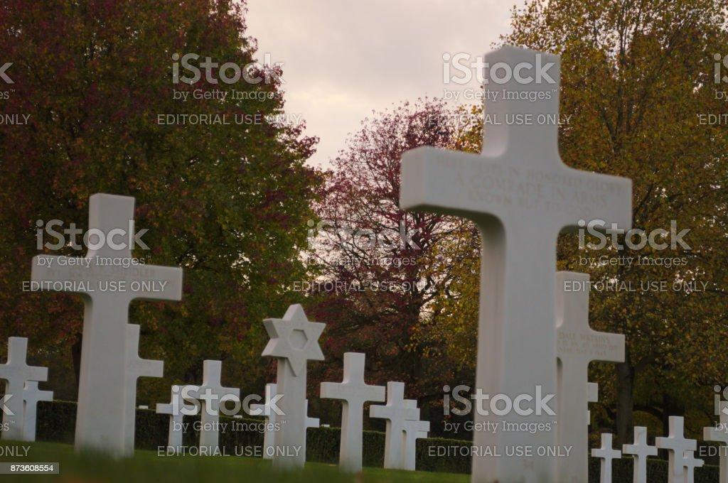 Marble headstones Low angle stock photo