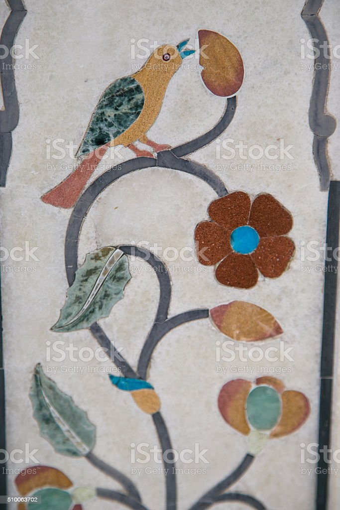 Marble inlaid with precious stones stock photo