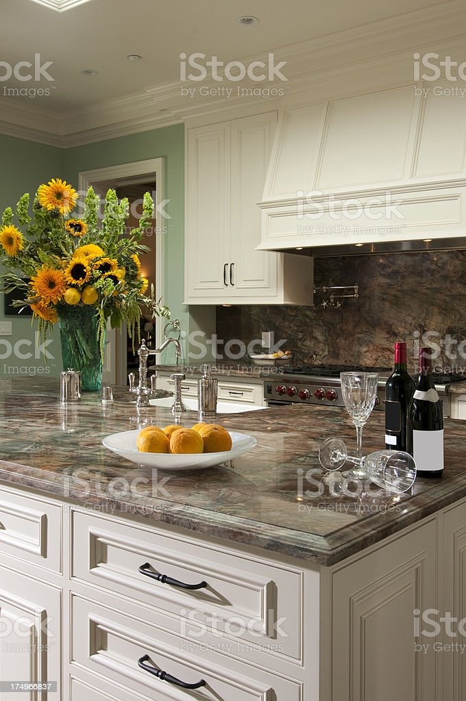 Marble Kitchen Island Counter Top With Wine And Sunflower Arrangement Stock Photo Download Image Now Istock