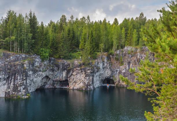 Marble Lake in Ruskeala Mountain Park - Karelia Russia stock photo