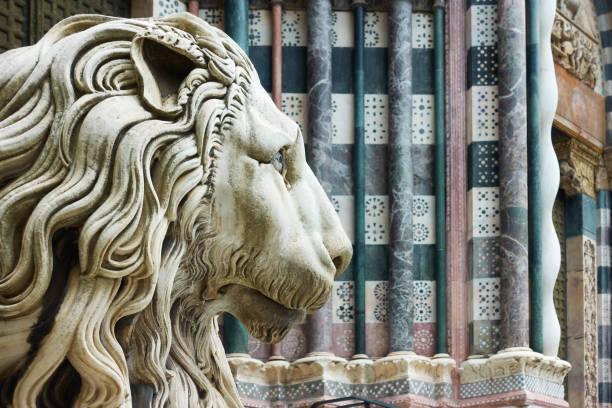Marble lion's head stock photo