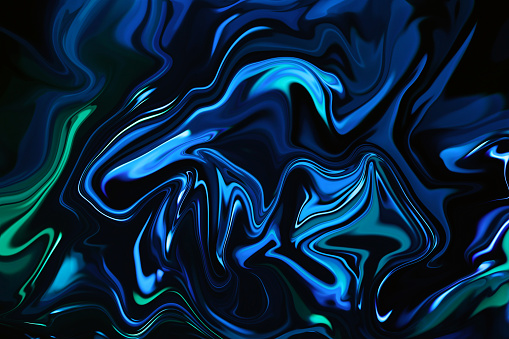 Marble Neon Blue Green Abstract Texture on Black Background Multi Colored Texture Trendy Colors Colorful Gradient Distorted Macro Photography Vibrant Pattern