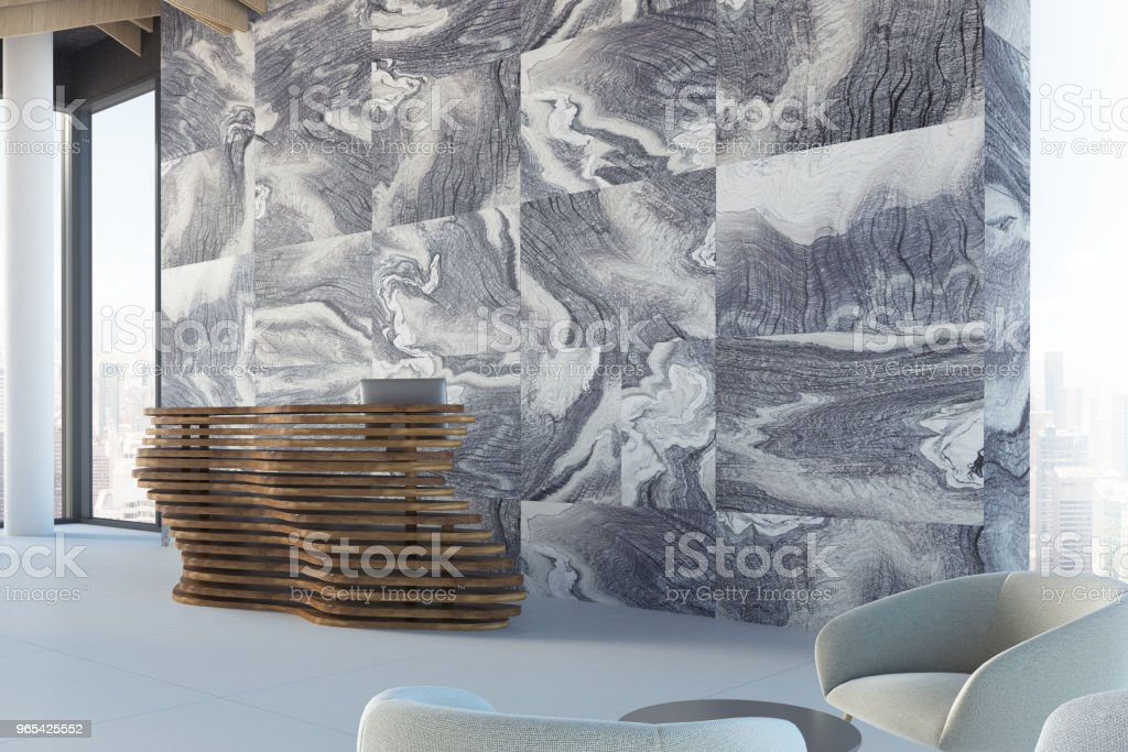 Marble office reception desk, side view royalty-free stock photo