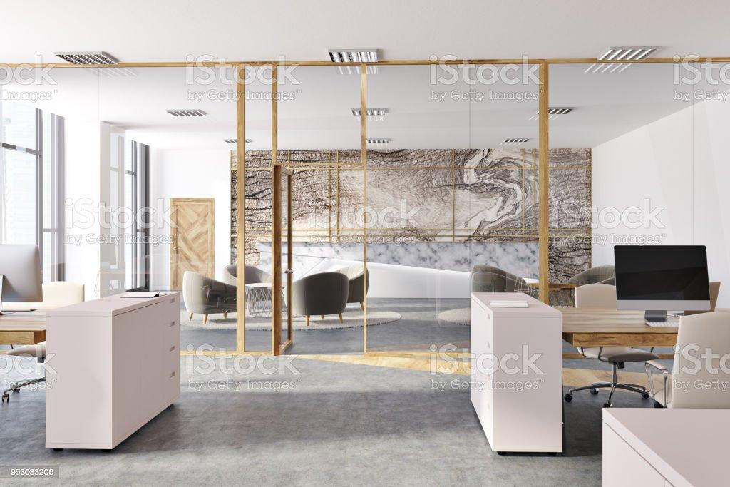 Intérieur de bureau en marbre espace ouvert panoramique u photos