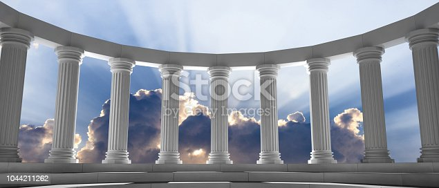 istock Marble pillars and steps on blue sky with clouds background. 3d illustration 1044211262