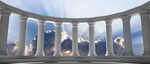 Marble pillars and steps on blue sky with clouds background. 3d illustration Marble pillars curve on blue cloudy sky background, details, front view. 3d illustration classical greek stock pictures, royalty-free photos & images