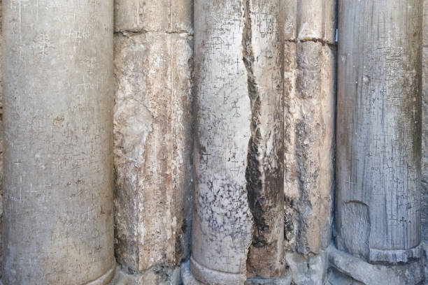marble pillars at the entrance to Church of the Holy Sepulchre in Jerusalem, Israel stock photo