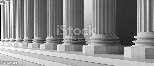 Marble pillars building detail. Ancient columns of white ornate marble, close up view. 3d illustration