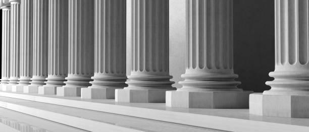 détail de la construction de piliers de marbre. illustration 3d - colonne architecturale photos et images de collection