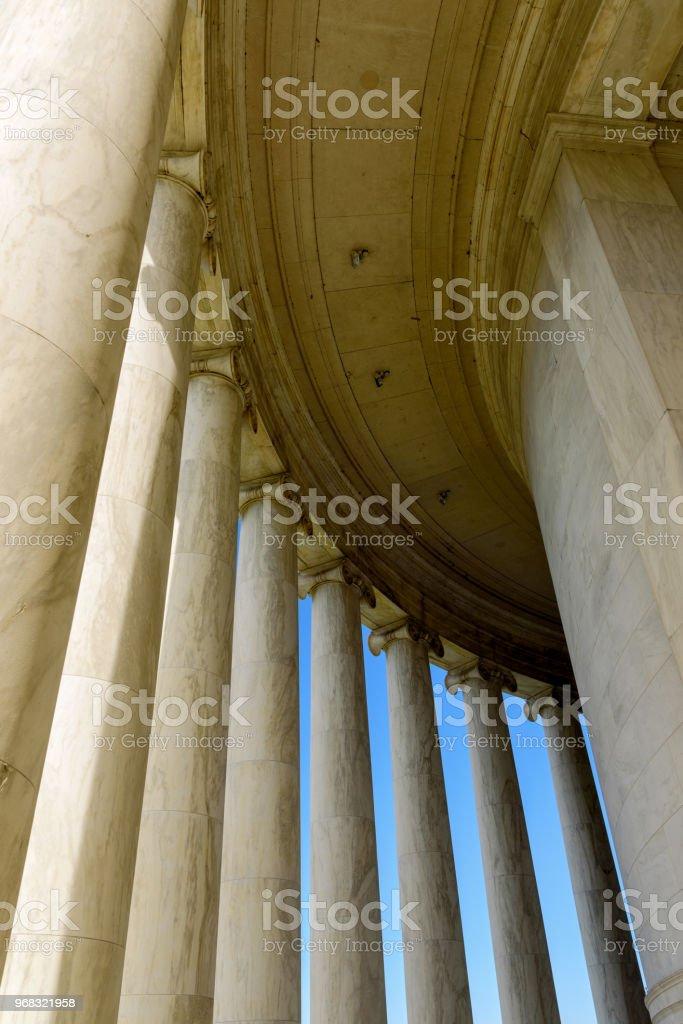 Marble pillars of Jefferson Memorial, Washington DC stock photo