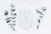 istock Marble plate and fresh eucalyptus branches 1146964140