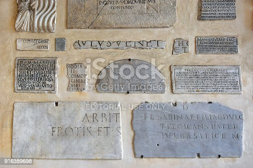 istock marble plates with an inscription in latin 916389698
