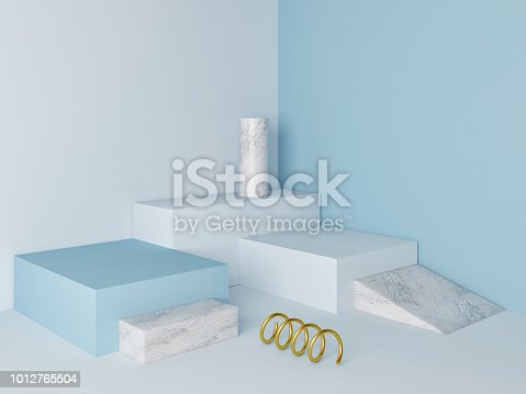 istock Marble  podium minimal  wall scene 1012765504