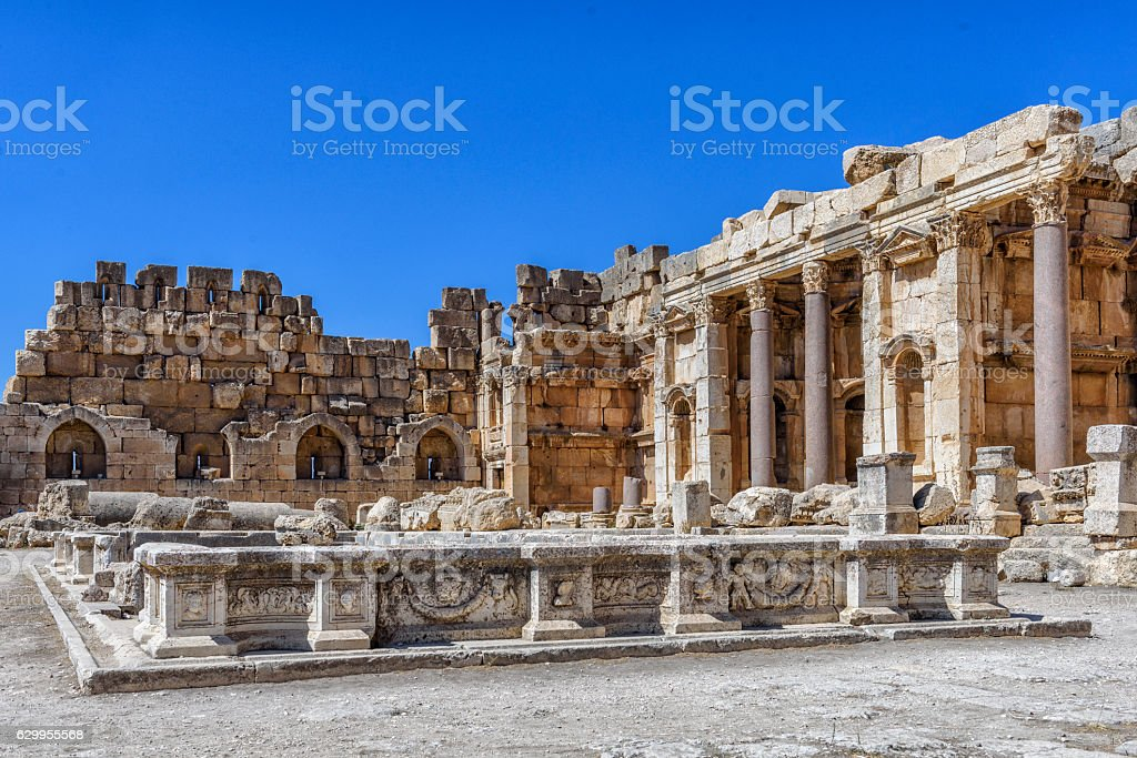 Marble pool for the purification of sacrifices in Baalbek stock photo