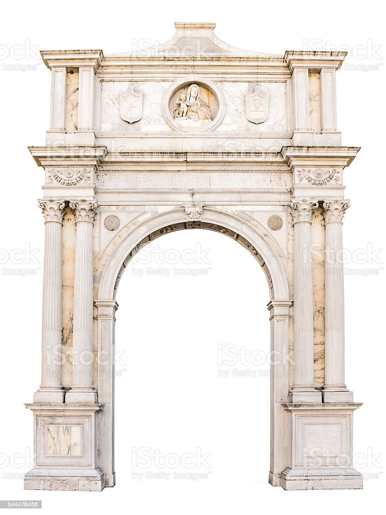Marble portal in Gothic-Renaissance style suitable as frame. stock photo