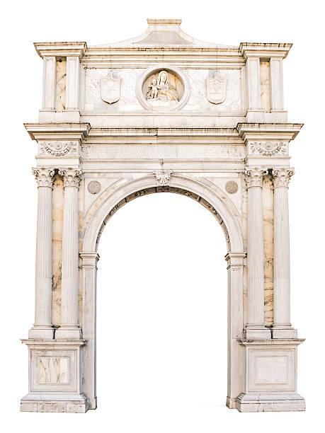 marble portal in gothic-renaissance style suitable as frame. - bogen architektonisches detail stock-fotos und bilder