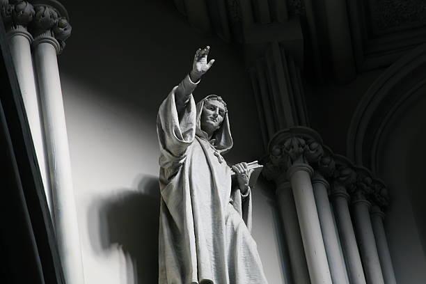 Marble Saint Statue stock photo