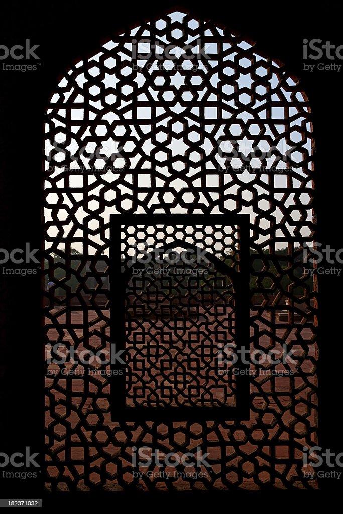 Marble screen window in Humayun's Tomb stock photo